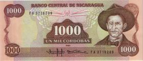 Nicaragua P.156a 1000 Cordobas 1985 (1)