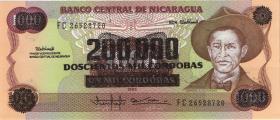 Nicaragua P.162F 200.000 auf 1000 Cordobas (1990) (1)