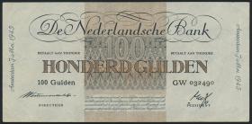 Niederlande / Netherlands P.079 100 Gulden 1945 (3+)