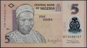 Nigeria P.38b 5 Naira 2011 Polymer (1)