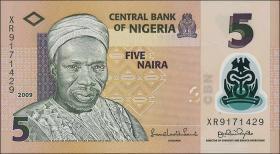 Nigeria P.38a 5 Naira 2009 Polymer (1)