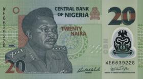 Nigeria P.34b 20 Naira 2007 Polymer (1)