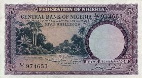 Nigeria P.02 5 Shillings 1958 (3+)