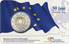 Niederlande 2 Euro 2015 30 Jahre EU-Flagge Coincard
