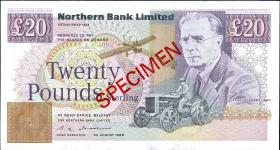 Nordirland / Northern Ireland P.195b 20 Pounds 1990 (1) Specimen