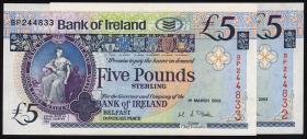 Nordirland / Northern Ireland, Bank of Ireland P.079 5 Pounds 2003 pair (1)