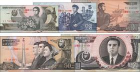 Nordkorea / North Korea P.49-53 1 - 100 Won (2007) Gedenkbanknoten