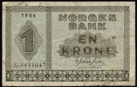 Norwegen / Norway P.15a 1 Krone 1944 (4)
