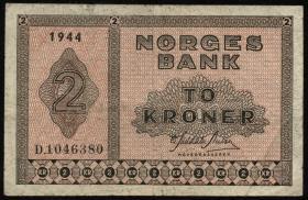 Norwegen / Norway P.16a 2 Kronen 1944 (3)