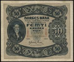 Norwegen / Norway P.09d 50 Kronen 1941 (3+)