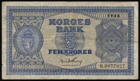 Norwegen / Norway P.25b 5 Kronen 1948 (3)