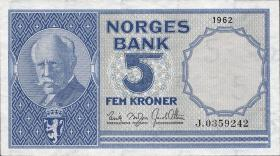 Norwegen / Norway P.30g 5 Kronen 1962 (1)