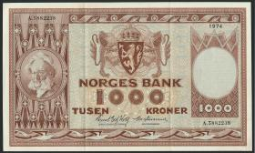 Norwegen / Norway P.35e 1000 Kronen 1974 (2)