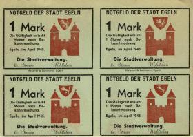 Notgeld Egeln (Provinz Sachsen) 4 x 1 Mark 1945 (1/1-)