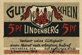 Notgeld Stadt Lindenberg im Allgäu 5-10-50 Pf. 1.9.1947 (1)