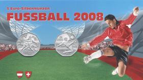 Österreich 5 Euro 2008 Fußball-EM (beide Ausgaben)