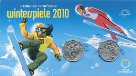 Österreich 2 x 5 Euro 2010 Winterspiele, im Folder