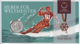 Österreich 5 Euro 2012 Ski-WM Schladming 2013 im Folder