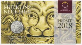Österreich 5 Euro 2018 Mutig ins Neue Jahr im Folder