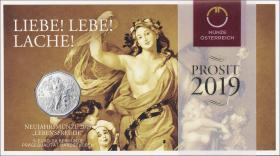 Österreich 5 Euro 2019 Lebensfreude (Neujahrsmünze) im Folder