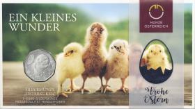 Österreich 5 Euro 2021 Osterküken (Ostermünze) im Folder