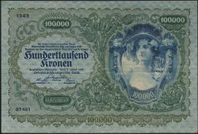Österreich / Austria P.081 100.000 Kronen 1922 (3+)