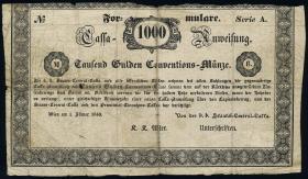 Österreich / Austria P.A107 1000 Gulden 1849 Formular (5)
