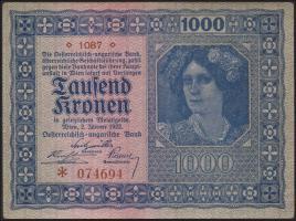Österreich / Austria P.078a 1000 Kronen 1922 (1)