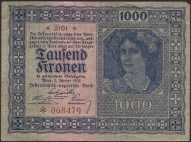 Österreich / Austria P.078b 1000 Kronen 1922 mit Wzz. (3)