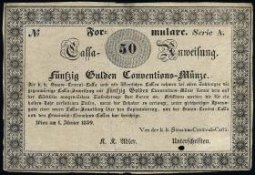 Österreich / Austria P.A104 50 Gulden 1849 Formular (3)