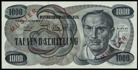 """Österreich / Austria P.140s 1000 Schilling 1961 """" Kleiner Kaplan """" MUSTER (1)"""
