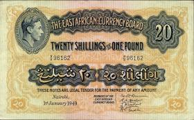 Ost Afrika / East Africa P.30b 20 Shillings = 1 Pound 1949 (2)