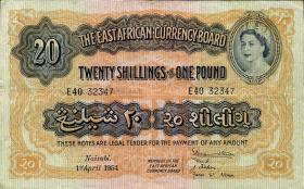 Ost Afrika / East Africa P.35 20 Shillings = 1 Pound 1954 (3+)