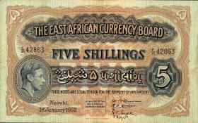 Ost Afrika / East Africa P.28b 5 Shillings 1952 (3)