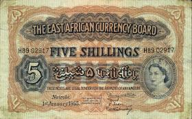 Ost Afrika / East Africa P.33 5 Shillings 1955 (3-)