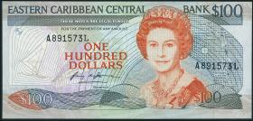 Ost Karibik / East Caribbean P.25a 100 Dollars (1988-93) (3+)