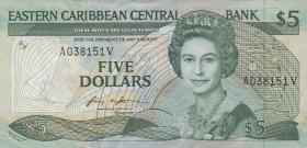 Ost Karibik / East Caribbean P.18v 5 Dollars (1986-88)