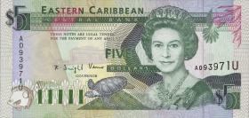 Ost Karibik / East Caribbean P.26u 5 Dollars (1993) (1)