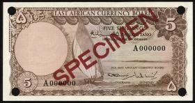 Ost Afrika / East Africa P.45-48s 5 - 20 Shillings (1964) Specimen (1)