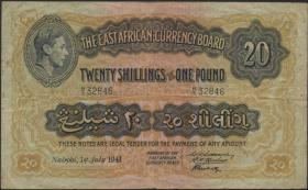 Ost Afrika / East Africa P.30a 20 Shillings = 1 Pound 1941 (3)