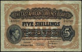 Ost Afrika / East Africa P.28b 5 Shillings 1951 (3)