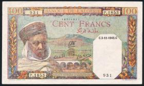 Algerien / Algeria P.088 100 Francs 1942 (2)