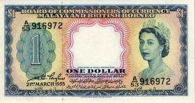 Malaya & British Borneo P.01a 1 Dollar 1953 (1)