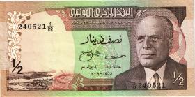 Tunesien / Tunisia P.66 1/2 Dinar 1972 (3+)