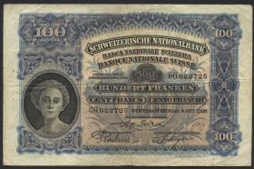 Schweiz / Switzerland P.35e 100 Franken 1928 (3-)