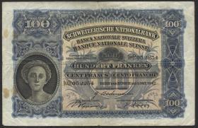 Schweiz / Switzerland P.35m 100 Franken 1.10.1942 (3-)