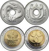 Papua-Neuguinea 1 Kina 2004 + 2 Kina 2008
