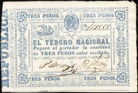 Paraguay P.023 3 Pesos (1865) (1-)