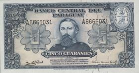 Paraguay P.186c 5 Guaranies 1952 (1)