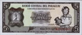 Paraguay P.195b 5 Guaranies L. 1952 (1)